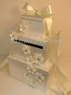 Ivory Wedding Card Box Gift Card Box Money Card Box Holder-Customize Your Color.