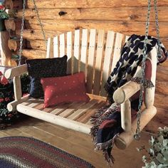 Rustic Natural Cedar Log Porch Swing With Chain Kit