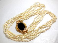 Fresh Water PEARLS Necklace Vintage Multi Strand Gold/10K and Onyx Decorative Clasp Fine Costume Fashion Victorian Revival SALE by JewlsinBloom on Etsy