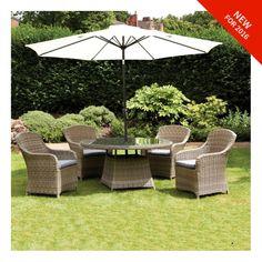 royalcraft wentworth rattan 4 seat round imperial dining set outdoor garden furnituregarden - Furniture Village Garden Furniture