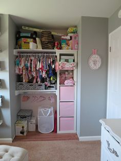 Need to create a storage place for art, crafts and toys in playroom.