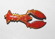 Vintage Enamel Red & Gold LOBSTER Pin Brooch (Metal)