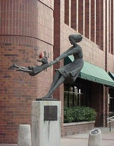 This statue outside of a building in Salt Lake City, Utah depicts a mother swinging her daughter around and around. It's a strange place for that sort of statue, but I bet if you walk past it you can't help but smile.