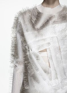 """Fashion X Technology: Ying Gao """"The experimental fashion designer creates technology-driven clothing that responds to sounds, voices and human presence"""" New York Fashion, Fashion Art, Space Fashion, Textile Intelligent, Ying Gao, Textile Manipulation, Smart Textiles, Manhattan, Design Textile"""
