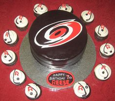 Hurricanes Hockey   Cake & Cupcakes #Hockey #cake #ahockeymomreviews Happy 7th Birthday, Birthday Cake, Hockey Cupcakes, Hurricanes Hockey, Hockey Birthday Parties, Hockey Logos, Sport Cakes, Cake Logo, Cake Designs