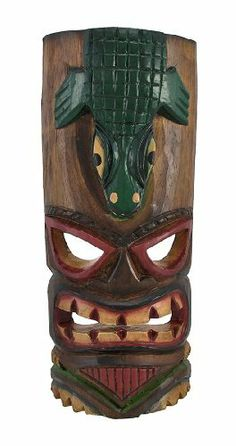 Hand Carved Grimacing Tiki Mask with Alligator Headdress 11 In. by Things2Die4. $14.99. 11 In. Tall. Wood. Hand Carved and Painted. Great in Homes and Bars. This awesome looking tiki wall mask, with a grimace on his face and a large alligator headdress, is hand-carved from Indonesian Albesia wood, and hand-painted with red, yellow, and green paints to show off the detail. Measuring 11 inches tall, 4 inches at its widest and 2 inches deep, it looks great on walls in patios, ...