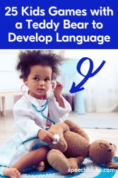 Looking for easy, cheap ways to stimulate your child's language development? Read on to find 25 games to play with a teddy bear and expand vocabulary while playing! Learning Games, Kids Learning, Learning Through Play, Games For Kids, Games To Play, Activities For Kids, Speech Delay, Play N Go, 100 Fun