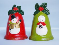 Vintage Christmas Salt and Pepper Shakers, Snowman Holly Collectible Housewares