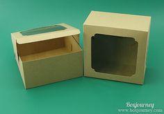 กล่องคัพเค้ก 4 ชิ้นคราฟ หน้าต่างกว้าง