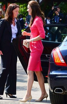 Catherine, Duchess of Cambridge arrives for her visit to an M-PACT Plus Counselling programme at Blessed Sacrament School on July 1, 2014 in London, England.