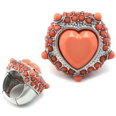 Coral heart ring.