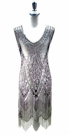 The Charleston Black and Silver : Beaded 1920's Style Gowns, Art Deco Gowns, 20's Flapper Fringe Dresses, Vintage Daywear, Hollywood Reproductions..... from LeLuxe Clothing
