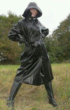 Black Rubber Raincoat, Hat, Gloves & Boots