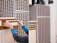 5 Refrigerator Decorating Ideas With Wallpapers   Shelterness; diy, fridge, kitchen, rental upgrades
