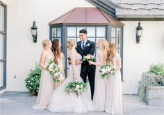 Bride And Groom With Bridesmaids At Summit House Southern California Wedding Elopement Photographer