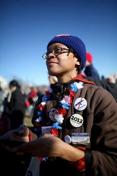WASHINGTON, DC - JANUARY 19: Obama supporter Terri McClain of Seattle stands on the National Mall as Washington prepares for President Barack Obama's second inauguration on January 19, 2013 in Washington, DC. The U.S. capital is preparing for the second inauguration of U.S. President Barack Obama, which will take place on January 21. (Photo by Mario Tama/Getty Images) Presidential Inauguration, National Mall, January 21, Barack Obama, Washington Dc, Seattle, Presidents, Mario, Folk