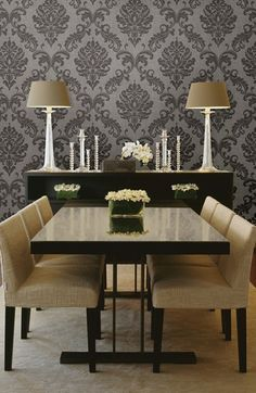 Gorgeous large scale hand printed effect #damask #wallpaper design ...