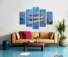 Polyptych, 5 split, stretched, canvas, multi panel, prints, painting, boat,nautical,marine,skiff,sea,scene,seascape,waterscape,trees,nature,calm,reflections,light,sun,shine,moored,anchored,bay,island,fishing,rope,outdoors,holidays,vacation,summer,mood,happy,poetic,romantic,nostalgic,serene,peaceful,tranquil,calm,beautiful,cool,vibrant,vivid,colors,colours,aqua,blue,colorful,shades,in,on,by,at,of,the,fine,art,oil,artworks,images,decor,artistic,items,products,for sale,pictorem,shades of summer