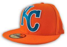 quality design 5b5e9 ad914 Kansas City Royals New Era Orange Mighty Stitch 59Fifty Fitted Hat Cap (7 5  8)