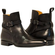 Jared Black Nappa Leather Buckle Detail Pull on Boots  from PaoloShoes.com