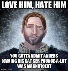 A stroke of genius, and the name of my own cat when I get him. From: https://www.facebook.com/pages/Dragon-Age-Memes/1498524043754169