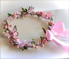 Flower Girl Floral Wreath Circelet. by TutusChicOriginals on Etsy