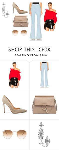 """Sin título #10026"" by ceciliaamuedo ❤ liked on Polyvore featuring Marques'Almeida, Unravel, Gianvito Rossi, Chloé, Ray-Ban and Elise Dray"