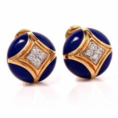 Van Cleef & Arpels Diamond Cobalt Enamel VCA 18K Gold Clipback Earrings Item #: 118603