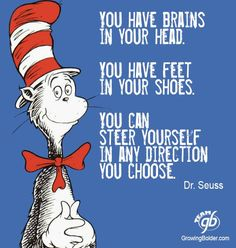 You have brains in your head. You have feet in your shoes. You can steer yourself in any direction you choose. - Dr. Seuss