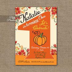 1st Birthday Invitation – Pumpkin Birthday Invitation