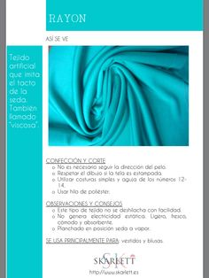 El dossier de las telas Skarlett Textile Fabrics, Textile Patterns, Sewing Patterns, Fabric Yarn, How To Dye Fabric, Fashion Sewing, Fashion Fabric, How To Make Clothes, Diy Clothes