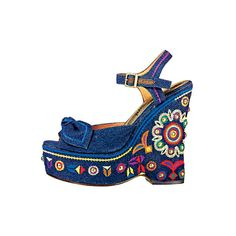 Embroidered denim wedge by Sam Edelman ❤ liked on Polyvore featuring shoes, sandals, wedges, heels, blue, blue wedge sandals, wedge sandals, wedges shoes, sam edelman and heeled sandals