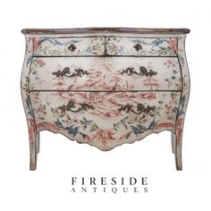 From the late 1800's, a beautiful Italian painted Bombay 4-Drawer Chest of drawers with faux Marble Top.