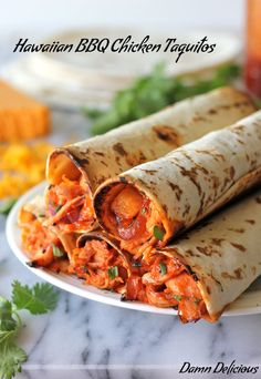 Hawaiian BBQ Chicken Taquitos.