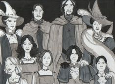 The Black Family Portrait: From bottom left counter-clockwise - Narcissa, Bellatrix, Andromeda, Sirius, Regulus, Walburga Black, Orion Black, Cygnus Black and Druella Black (née Rosier)