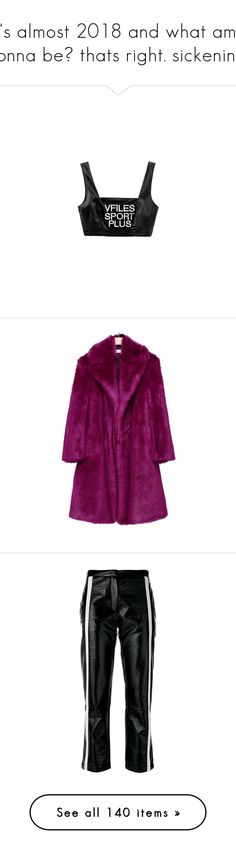 """it's almost 2018 and what am i gonna be? thats right. sickening!"" by sea-iris ❤ liked on Polyvore featuring tops, outerwear, coats, jackets, fake fur coat, purple coats, imitation fur coats, faux fur coat, purple faux fur coat and pants"