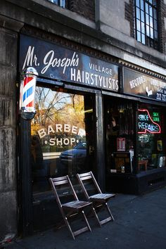 Store front - grey and seating in front. Greenwich Village, Barber Shop Interior, Barber Shop Decor, Tony Barber, Barber Logo, Shaved Hair Cuts, Barbershop Design, Barbershop Ideas, Barbers Cut
