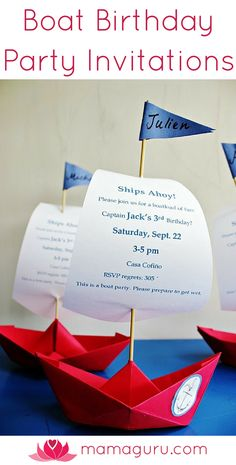 Create the most gorgeous boat party invitation for your Boat themed party! Wow your guests with a spectacular 3D paper boat invitation that lists party details on its sails. All you need is paper, a bamboo skewers and a little glue. It takes some time to make these, but the payoff is huge. Your guests will be so excited to come to a party with an invitation this cool. Best of all, they were very inexpensive to make. You just need paper and skewers. You probably already have both on hand.