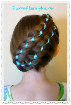 Diagonal Stacked Ribbon Braid Updo from Princess Hairstyles