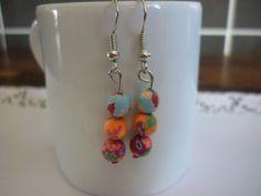 Boucles d'oreille en pâte polymère multicolore motifs fleurs. : Boucles d'oreille par laboiteabijouxnanny