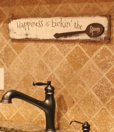 Happiness is lickin' the spoon distressed wall art by Gratefulheartdesign on Etsy
