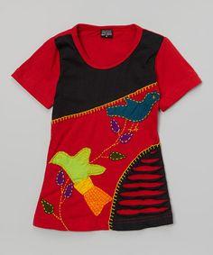 Another great find on #zulily! Red & Black Bird Razor-Cut Dress - Girls by Rising International #zulilyfinds