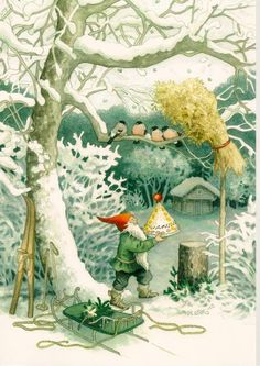 little helper elf, feeding forest birds