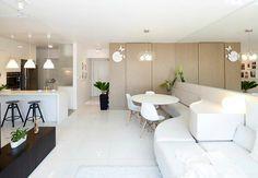 maximun sunlight, textured walls, mirrors bright white everywhere