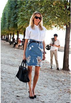 688c4fa29b Distressed and torn denims are common but not a distressed denim skirt.  This classic white
