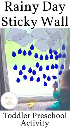 Rain Storm Sticky Wall Activity For Toddlers - Mama of Littles - Spring Activities for Kids Rainy Day Activities For Kids, Indoor Activities For Toddlers, Rainy Day Crafts, Toddler Learning Activities, Summer Activities For Kids, Preschool Activities, Preschool Weather, Weather Crafts, Toddler Themes