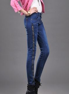 Korean Style Fashion Slim Side Zipper Denim Pant Blue--Click the picture can place an order,we support wholesale denim. #shoes #wholesale #fashion #lovely #cheap #Korean #dress #sexy #denim