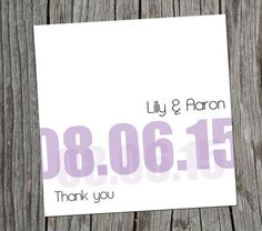 Purple DIY date thank you cards for weddings, Print from home.