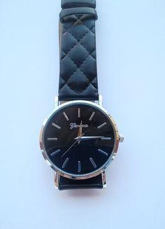 Kup mój przedmiot na #vintedpl http://www.vinted.pl/akcesoria/bizuteria/14010053-zegarek-geneva-pikowany-czarny-idealny-na-lato