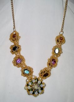 We'll Never be Royals but we can wear Royal colors! Bead woven necklace with Jewel Tone components by sassybeadedjewelry. Explore more products on http://sassybeadedjewelry.etsy.com